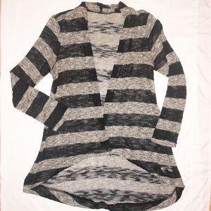 Black & Gray Striped Long Sleeve Cardigan Sweater